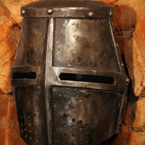 Medieval sculptures and helmets